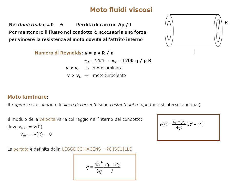 Moto fluidi viscosi Moto laminare : Il regime è stazionario e le linee di corrente sono costanti nel tempo (non si intersecano mai) Il modulo della ve