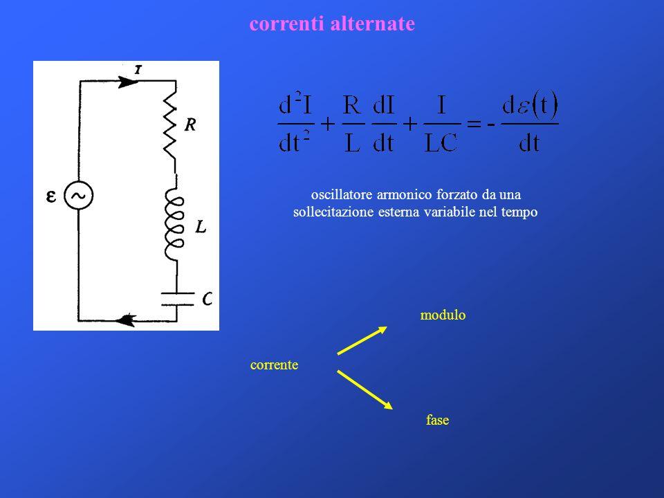 correnti alternate corrente modulo fase oscillatore armonico forzato da una sollecitazione esterna variabile nel tempo