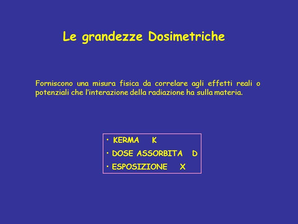 Le grandezze Dosimetriche KERMA K DOSE ASSORBITA D ESPOSIZIONE X Forniscono una misura fisica da correlare agli effetti reali o potenziali che linterazione della radiazione ha sulla materia.