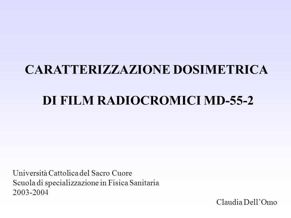 CARATTERIZZAZIONE DOSIMETRICA DI FILM RADIOCROMICI MD-55-2 Università Cattolica del Sacro Cuore Scuola di specializzazione in Fisica Sanitaria 2003-20