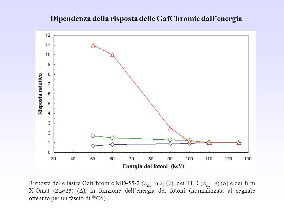 Risposta delle lastre GafChromic MD-55-2 (Z eff = 6,2) ( ), dei TLD (Z eff = 8) ( ) e dei film X-Omat (Z eff =25) ( ), in funzione dellenergia dei fot