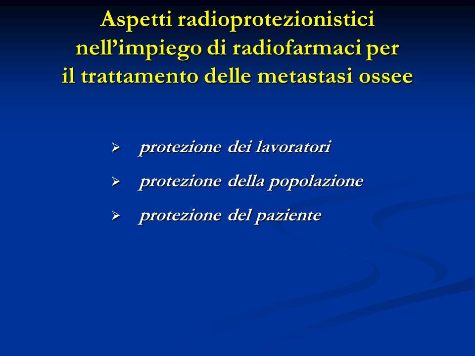 Aspetti radioprotezionistici nellimpiego di radiofarmaci per il trattamento delle metastasi ossee protezione dei lavoratori protezione dei lavoratori