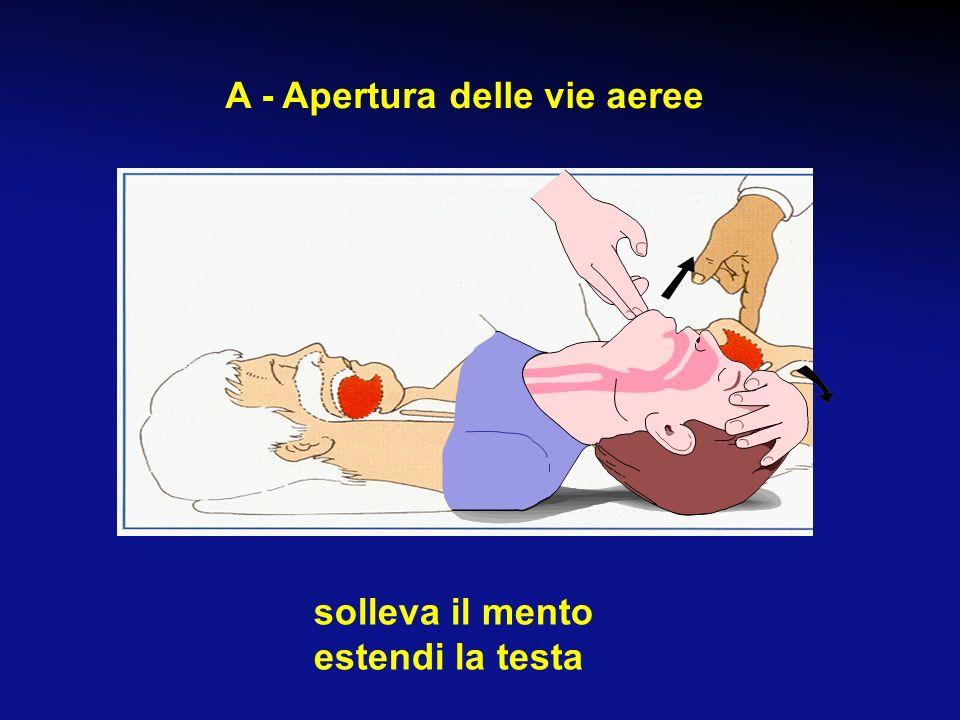 Se la vittima non risponde e non è supina: ruotala sul dorso apri le vie aeree rimuovi corpi estranei visibili non togliere dentiere ben posizionate