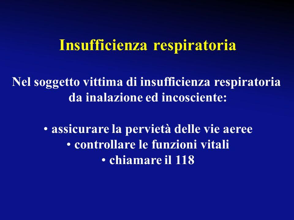 Insufficienza respiratoria Nel soggetto con insufficienza respiratoria da inalazione e cosciente, il paziente deve essere messo in posizione semisedut