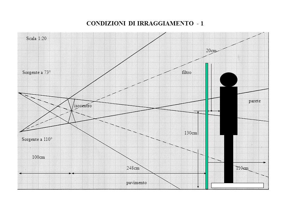 248cm110cm pavimento parete isocentro Sorgente a 110° Scala 1:20 130cm 100cm Sorgente a 73°filtro 20cm CONDIZIONI DI IRRAGGIAMENTO - 1