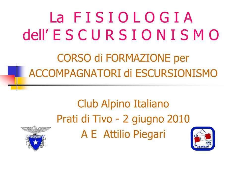 La F I S I O L O G I A dell E S C U R S I O N I S M O CORSO di FORMAZIONE per ACCOMPAGNATORI di ESCURSIONISMO Club Alpino Italiano Prati di Tivo - 2 giugno 2010 A E Attilio Piegari