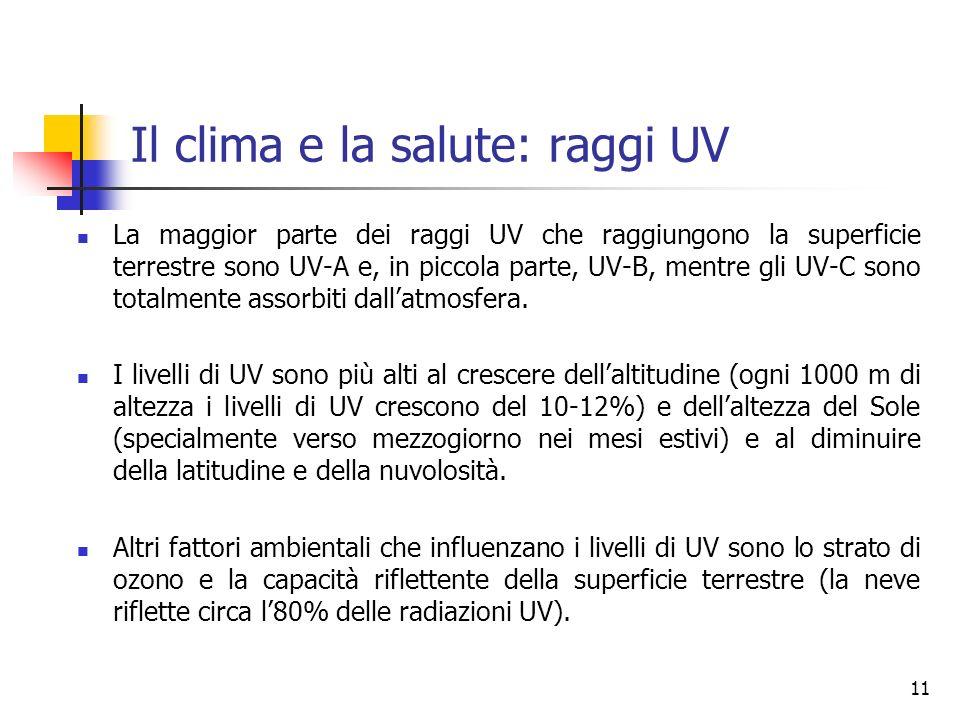 Il clima e la salute: raggi UV La maggior parte dei raggi UV che raggiungono la superficie terrestre sono UV-A e, in piccola parte, UV-B, mentre gli UV-C sono totalmente assorbiti dallatmosfera.