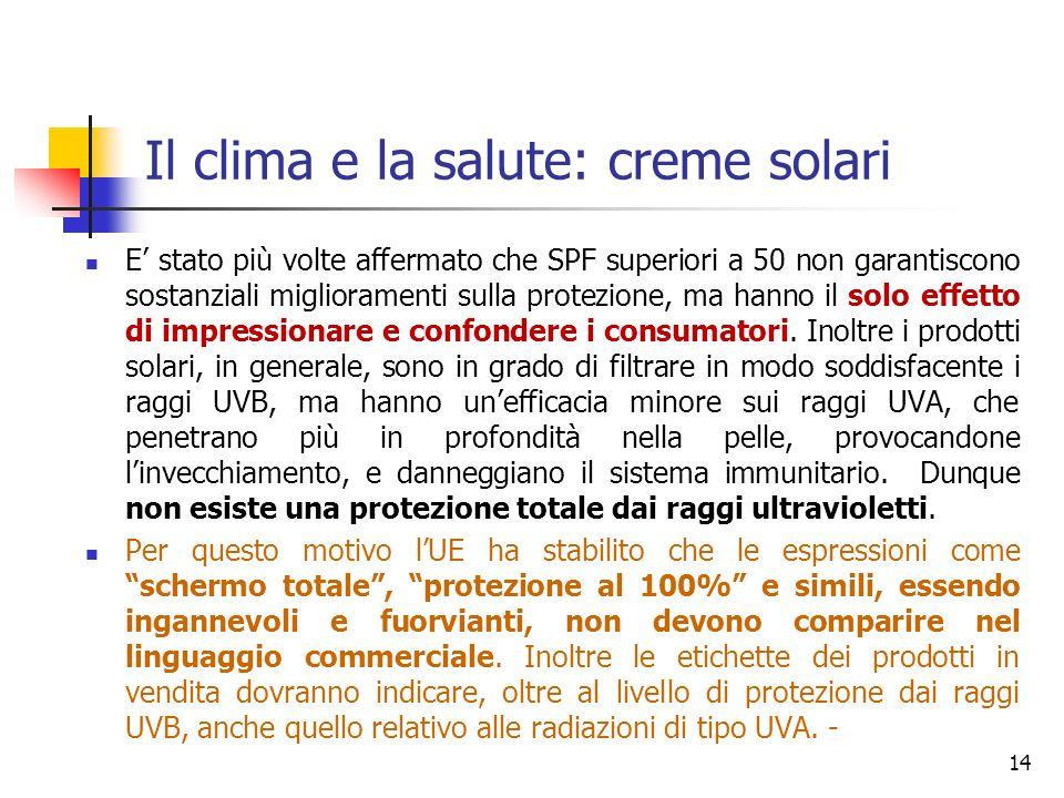 Il clima e la salute: creme solari E stato più volte affermato che SPF superiori a 50 non garantiscono sostanziali miglioramenti sulla protezione, ma hanno il solo effetto di impressionare e confondere i consumatori.