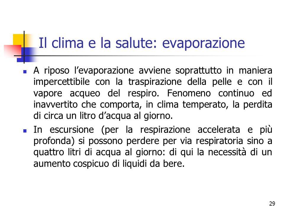 Il clima e la salute: evaporazione A riposo levaporazione avviene soprattutto in maniera impercettibile con la traspirazione della pelle e con il vapore acqueo del respiro.