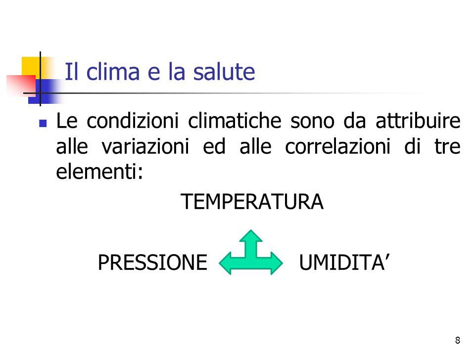 Il clima e la salute Le condizioni climatiche sono da attribuire alle variazioni ed alle correlazioni di tre elementi: TEMPERATURA PRESSIONE UMIDITA 8