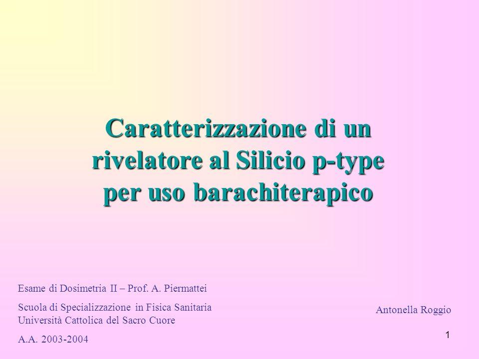 1 Caratterizzazione di un rivelatore al Silicio p-type per uso barachiterapico Esame di Dosimetria II – Prof. A. Piermattei Scuola di Specializzazione