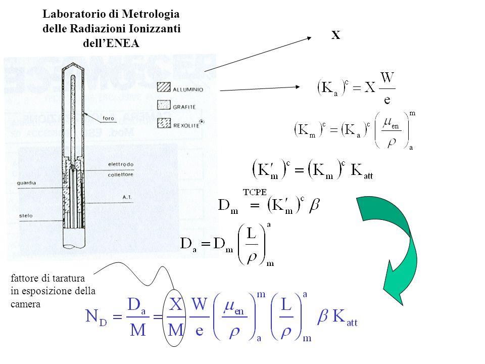 Laboratorio di Metrologia delle Radiazioni Ionizzanti dellENEA X fattore di taratura in esposizione della camera