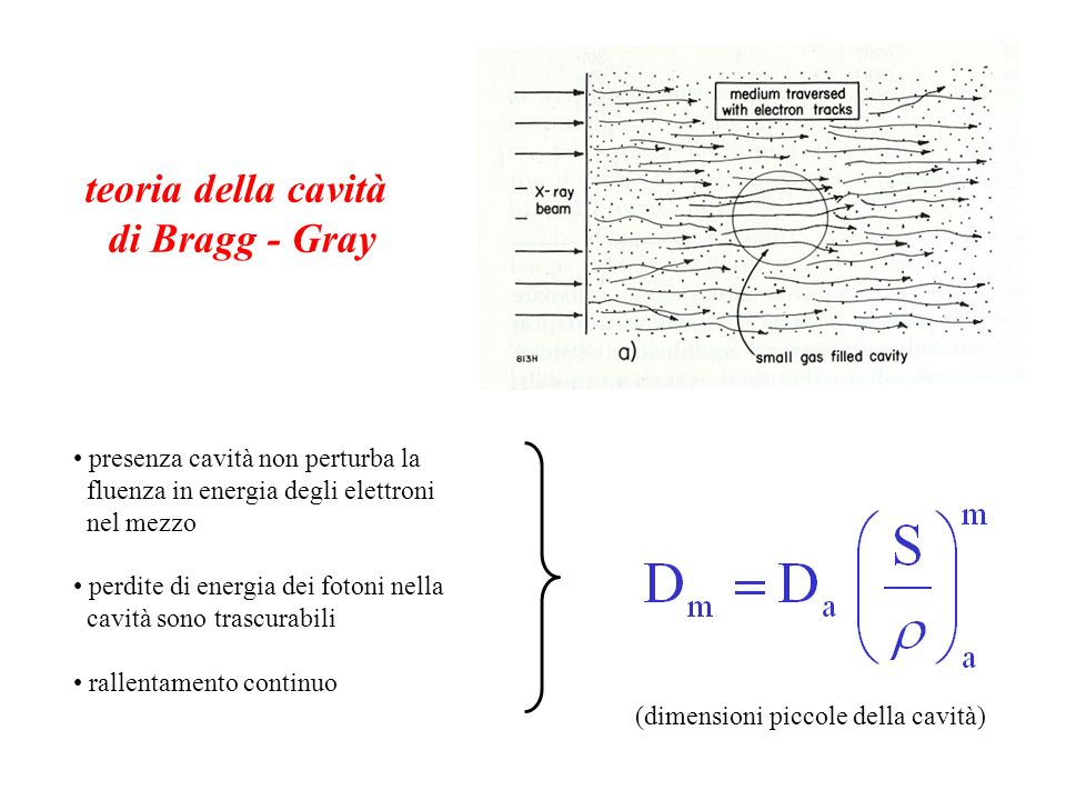 teoria della cavità di Bragg - Gray presenza cavità non perturba la fluenza in energia degli elettroni nel mezzo perdite di energia dei fotoni nella c