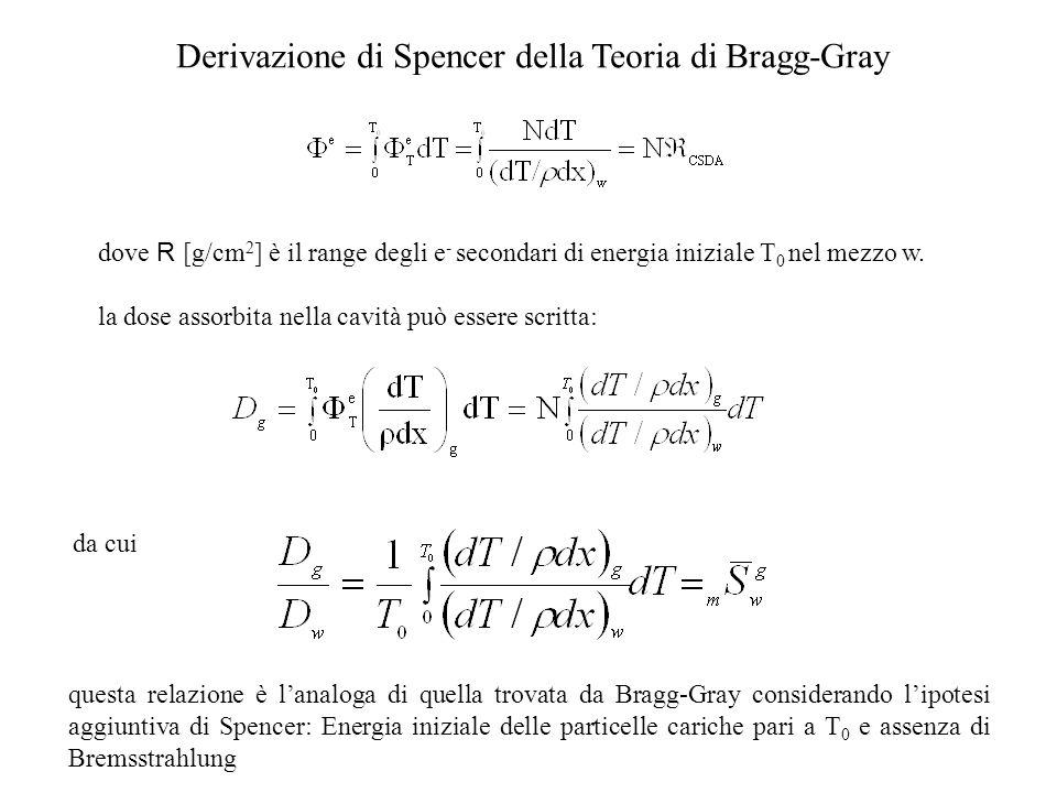 Derivazione di Spencer della Teoria di Bragg-Gray dove R [g/cm 2 ] è il range degli e - secondari di energia iniziale T 0 nel mezzo w. la dose assorbi