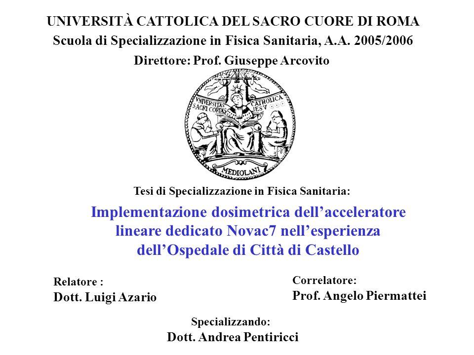 UNIVERSITÀ CATTOLICA DEL SACRO CUORE DI ROMA Scuola di Specializzazione in Fisica Sanitaria, A.A. 2005/2006 Tesi di Specializzazione in Fisica Sanitar