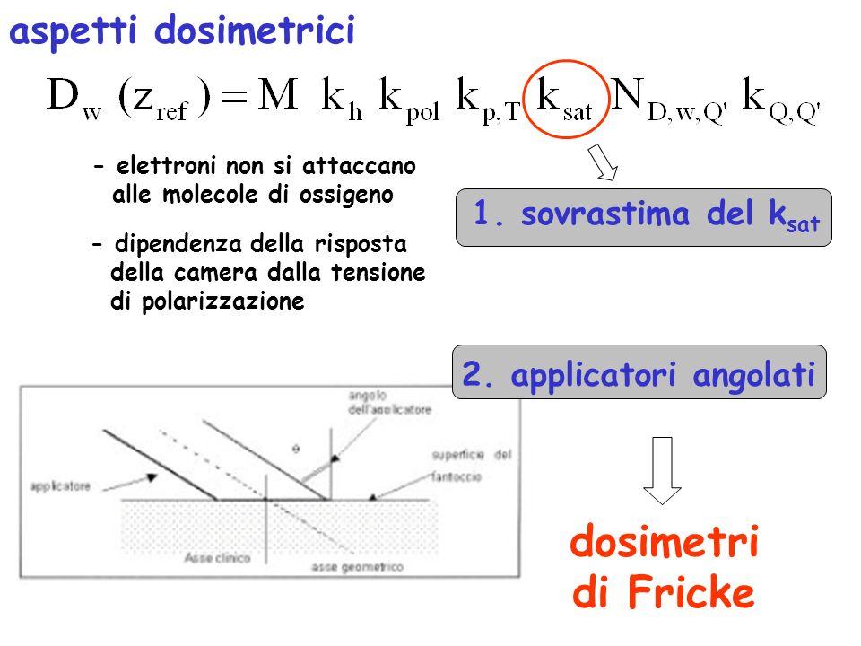 aspetti dosimetrici 1. sovrastima del k sat - elettroni non si attaccano alle molecole di ossigeno - dipendenza della risposta della camera dalla tens