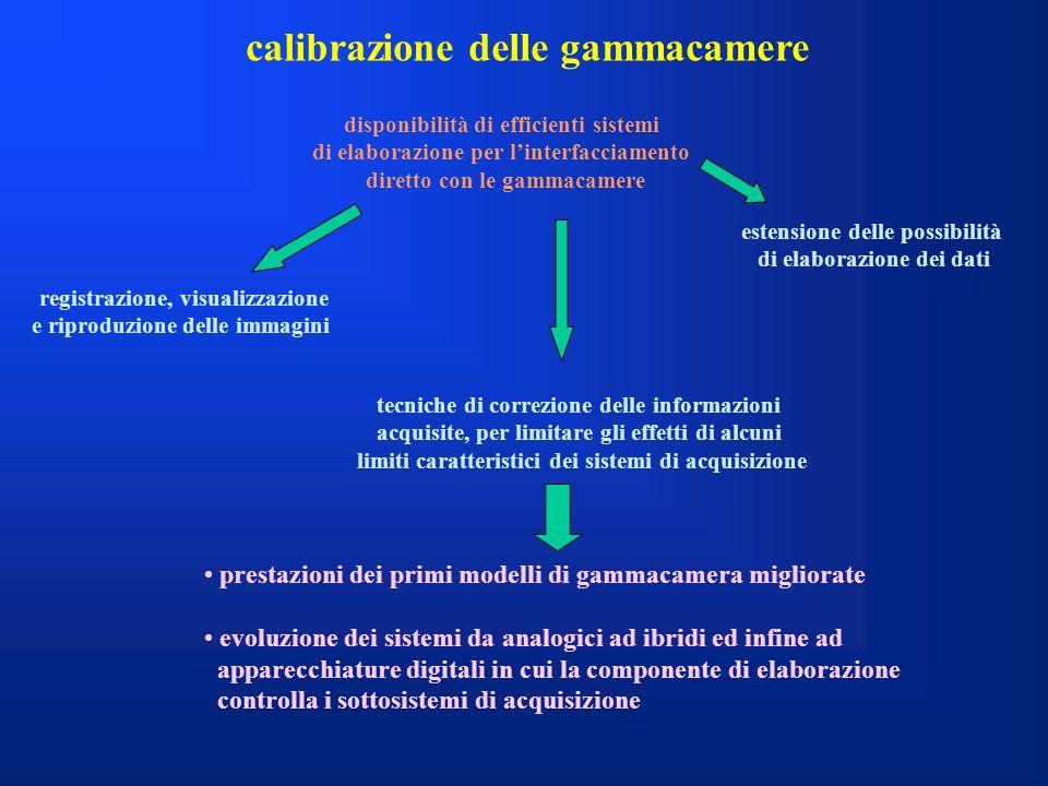 calibrazione delle gammacamere disponibilità di efficienti sistemi di elaborazione per linterfacciamento diretto con le gammacamere registrazione, vis