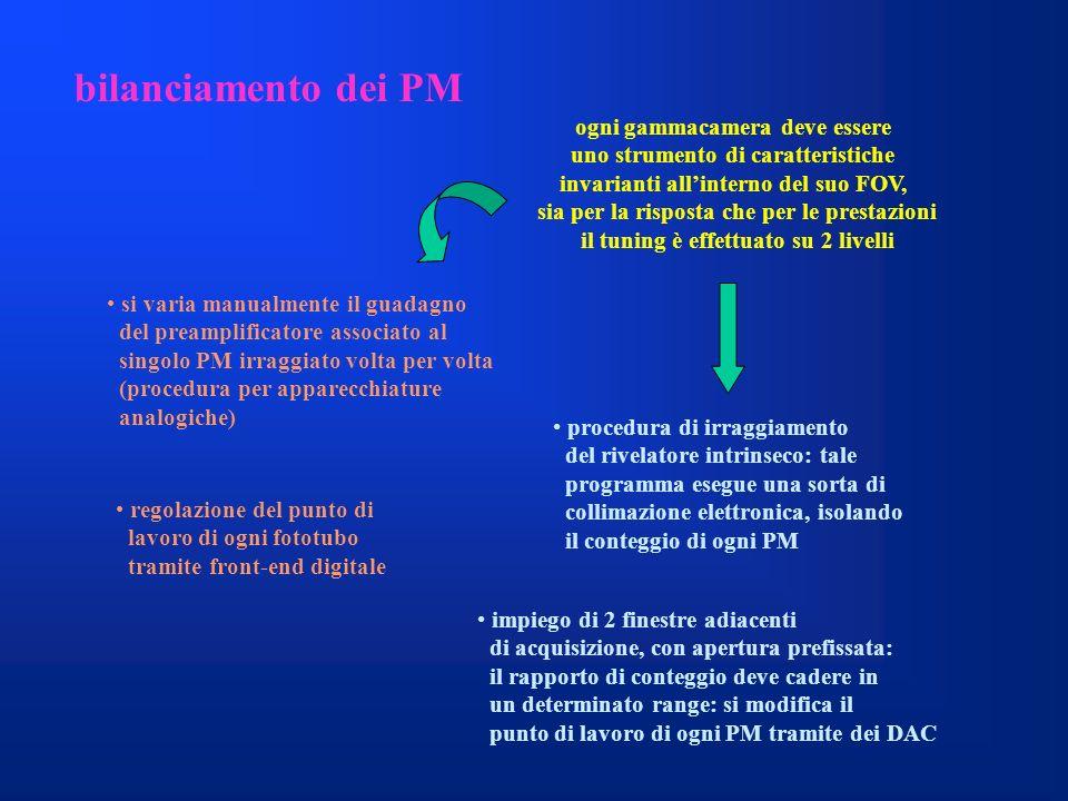bilanciamento dei PM ogni gammacamera deve essere uno strumento di caratteristiche invarianti allinterno del suo FOV, sia per la risposta che per le p