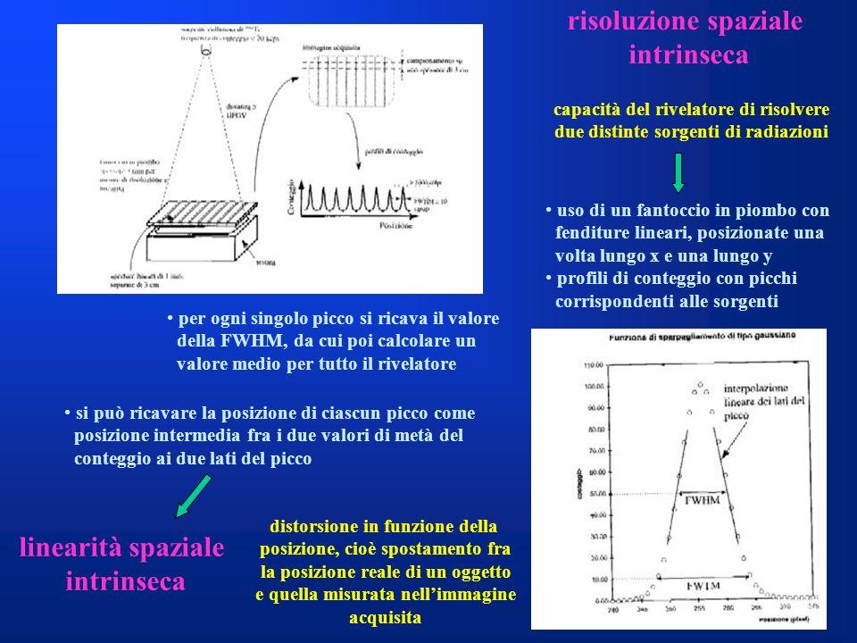 risoluzione spaziale intrinseca linearità spaziale intrinseca capacità del rivelatore di risolvere due distinte sorgenti di radiazioni uso di un fanto