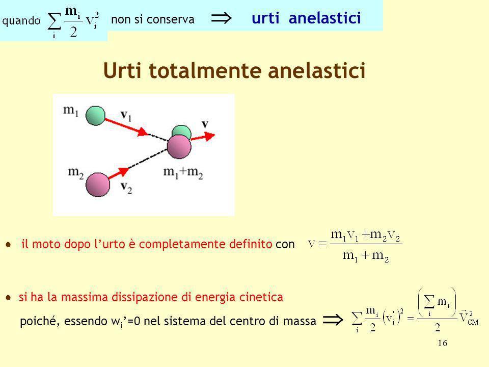 16 Urti totalmente anelastici si ha la massima dissipazione di energia cinetica poiché, essendo w i =0 nel sistema del centro di massa il moto dopo lu