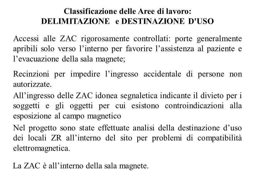 Classificazione delle Aree di lavoro: DELIMITAZIONE e DESTINAZIONE D'USO Accessi alle ZAC rigorosamente controllati: porte generalmente apribili solo