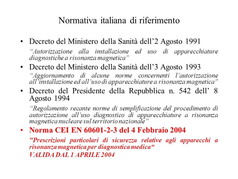 Normativa italiana di riferimento Decreto del Ministero della Sanità dell2 Agosto 1991 Autorizzazione alla installazione ed uso di apparecchiature dia