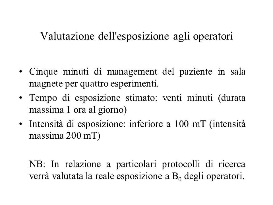 Valutazione dell'esposizione agli operatori Cinque minuti di management del paziente in sala magnete per quattro esperimenti. Tempo di esposizione sti