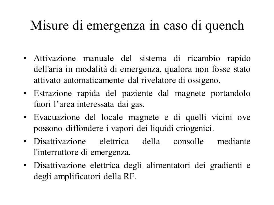 Misure di emergenza in caso di quench Attivazione manuale del sistema di ricambio rapido dell'aria in modalità di emergenza, qualora non fosse stato a