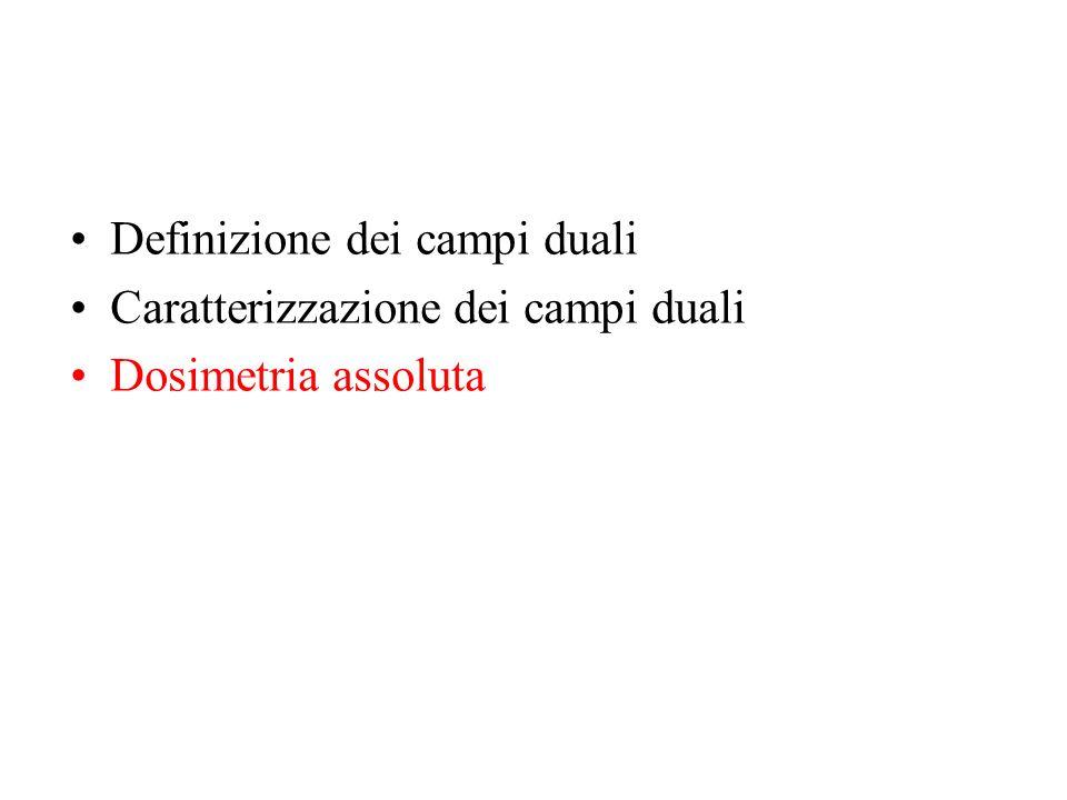 Definizione dei campi duali Caratterizzazione dei campi duali Dosimetria assoluta