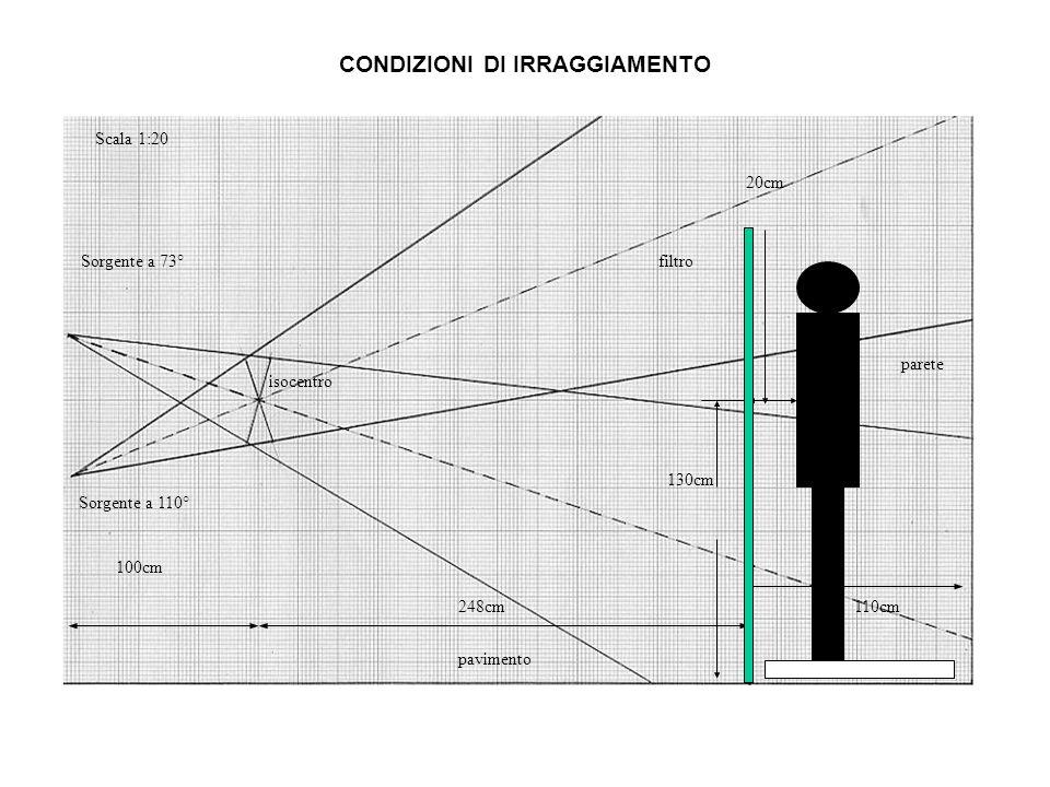 248cm110cm pavimento parete isocentro Sorgente a 110° Scala 1:20 130cm 100cm Sorgente a 73°filtro 20cm CONDIZIONI DI IRRAGGIAMENTO