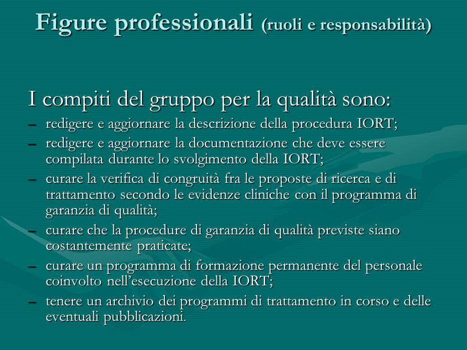 Figure professionali (ruoli e responsabilità) I compiti del gruppo per la qualità sono: –redigere e aggiornare la descrizione della procedura IORT; –r