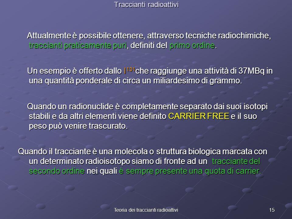 15Teoria dei traccianti radioattivi Traccianti radioattivi Attualmente è possibile ottenere, attraverso tecniche radiochimiche, traccianti praticament