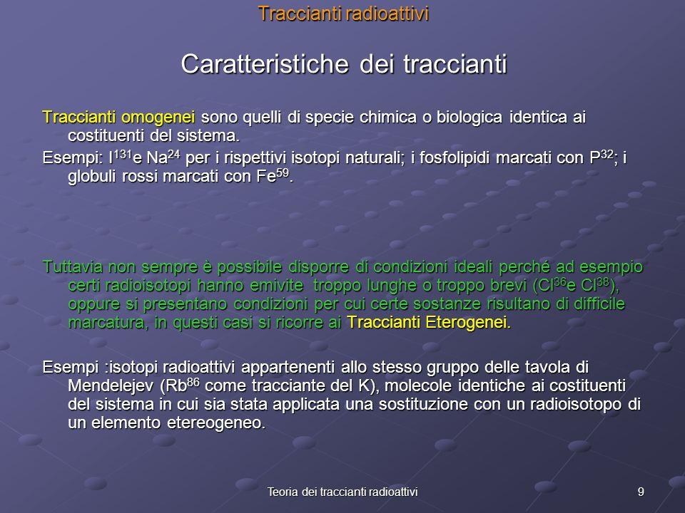 9Teoria dei traccianti radioattivi Traccianti radioattivi Caratteristiche dei traccianti Traccianti omogenei sono quelli di specie chimica o biologica