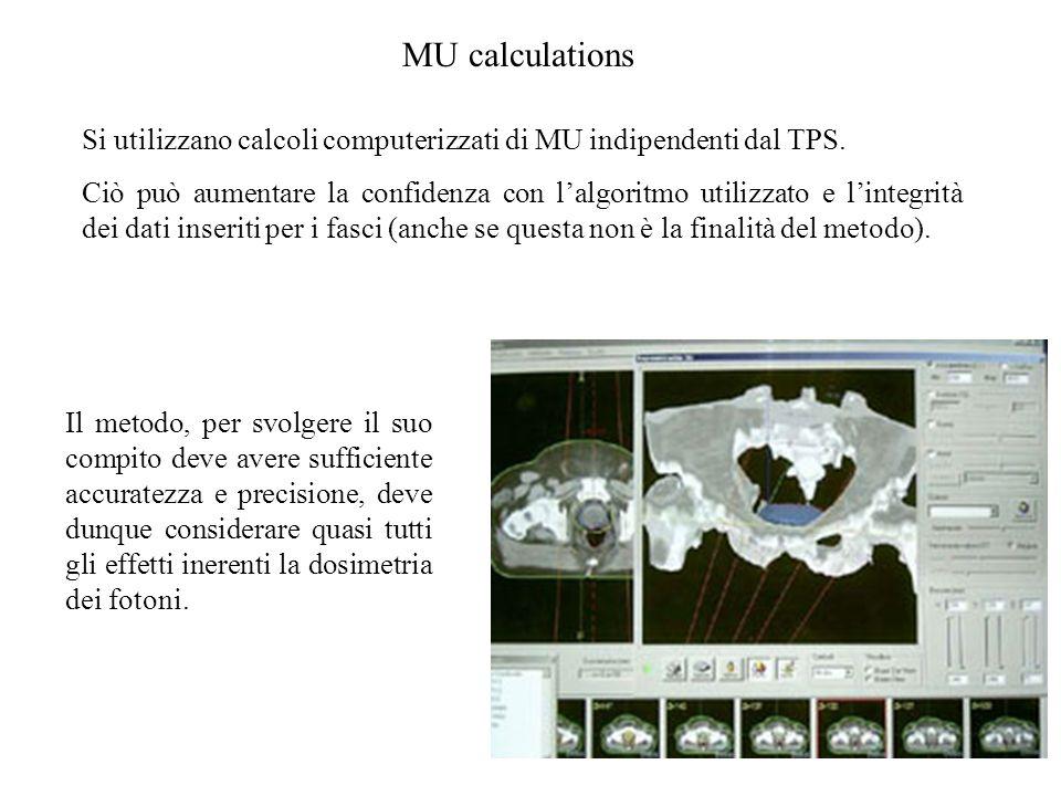 MU calculations Si utilizzano calcoli computerizzati di MU indipendenti dal TPS. Ciò può aumentare la confidenza con lalgoritmo utilizzato e lintegrit