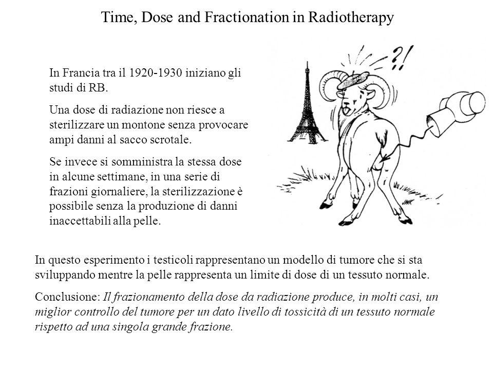 Time, Dose and Fractionation in Radiotherapy In Francia tra il 1920-1930 iniziano gli studi di RB. Una dose di radiazione non riesce a sterilizzare un