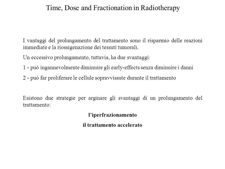Time, Dose and Fractionation in Radiotherapy I vantaggi del prolungamento del trattamento sono il risparmio delle reazioni immediate e la riossigenazi