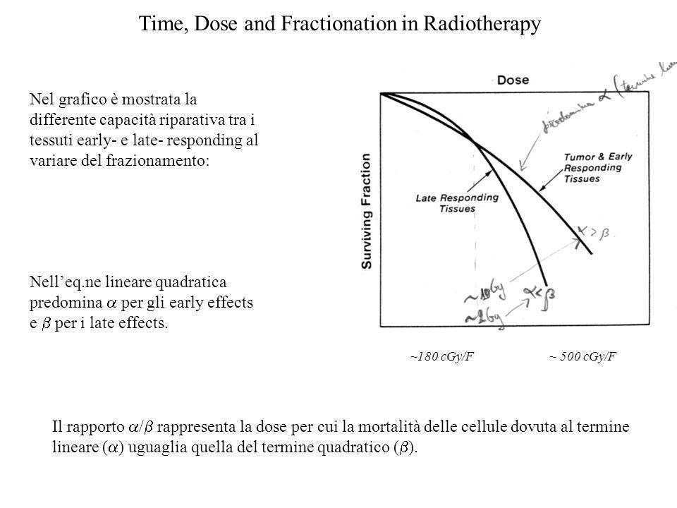 Time, Dose and Fractionation in Radiotherapy Il rapporto / rappresenta la dose per cui la mortalità delle cellule dovuta al termine lineare ( ) uguagl