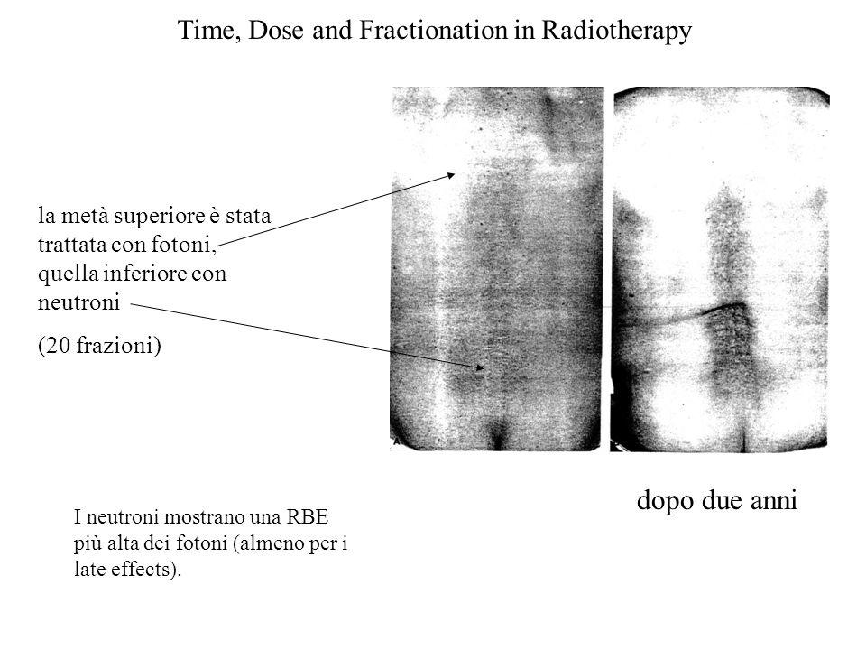 Time, Dose and Fractionation in Radiotherapy dopo due anni la metà superiore è stata trattata con fotoni, quella inferiore con neutroni (20 frazioni)