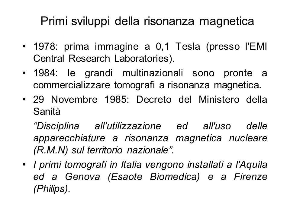 Primi sviluppi della risonanza magnetica 1978: prima immagine a 0,1 Tesla (presso l'EMI Central Research Laboratories). 1984: le grandi multinazionali