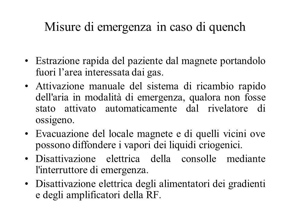 Misure di emergenza in caso di quench Estrazione rapida del paziente dal magnete portandolo fuori larea interessata dai gas. Attivazione manuale del s