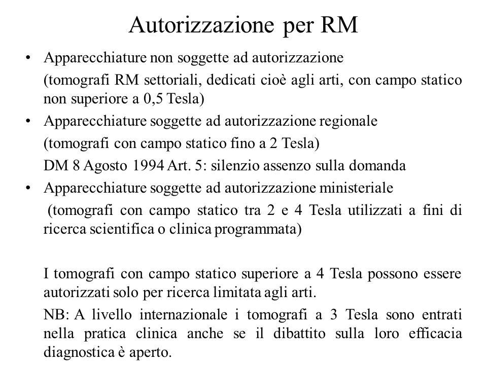 Autorizzazione per RM Apparecchiature non soggette ad autorizzazione (tomografi RM settoriali, dedicati cioè agli arti, con campo statico non superior