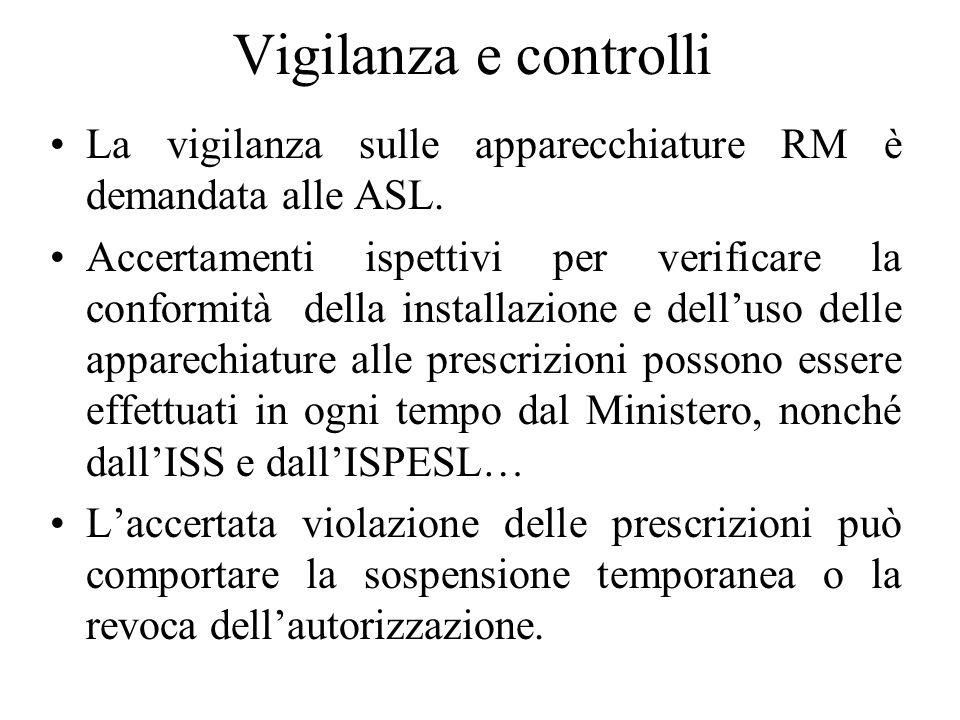 Vigilanza e controlli La vigilanza sulle apparecchiature RM è demandata alle ASL. Accertamenti ispettivi per verificare la conformità della installazi