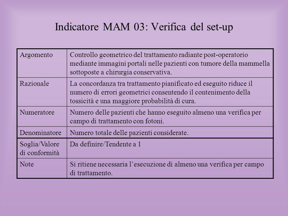 Indicatore MAM 03: Verifica del set-up ArgomentoControllo geometrico del trattamento radiante post-operatorio mediante immagini portali nelle pazienti
