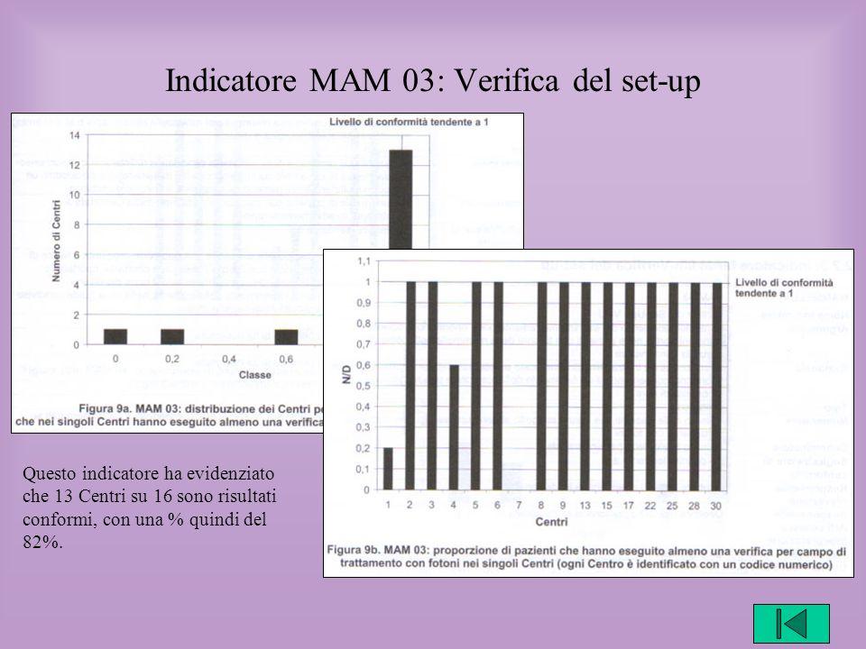 Indicatore MAM 03: Verifica del set-up Questo indicatore ha evidenziato che 13 Centri su 16 sono risultati conformi, con una % quindi del 82%.