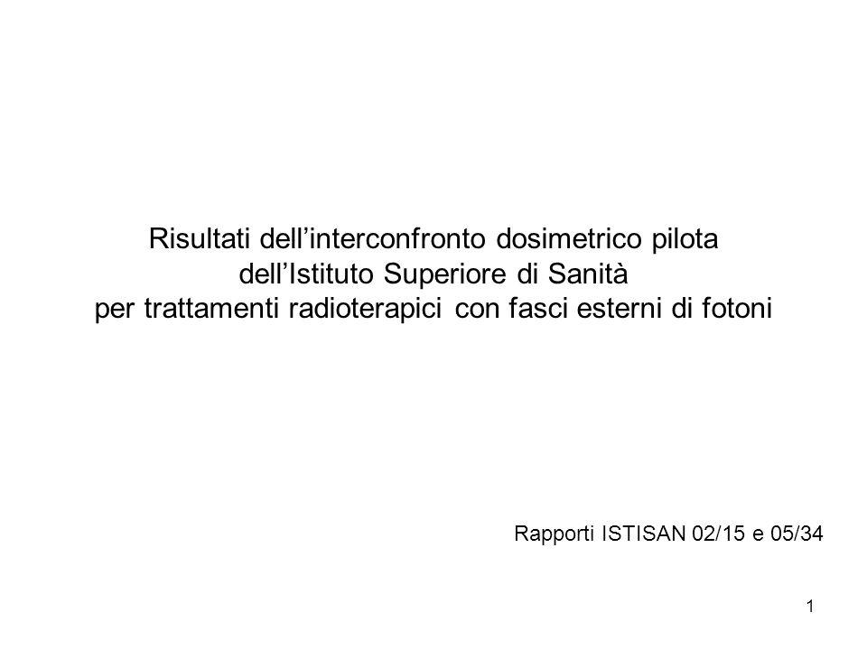 1 Risultati dellinterconfronto dosimetrico pilota dellIstituto Superiore di Sanità per trattamenti radioterapici con fasci esterni di fotoni Rapporti ISTISAN 02/15 e 05/34