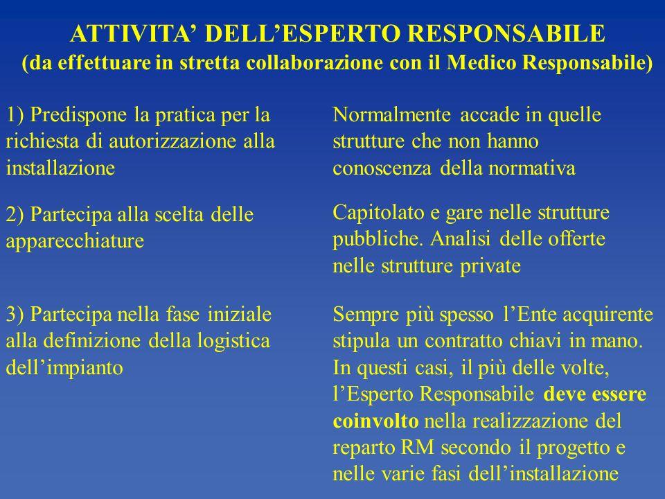 ATTIVITA DELLESPERTO RESPONSABILE (da effettuare in stretta collaborazione con il Medico Responsabile) 1) Predispone la pratica per la richiesta di au