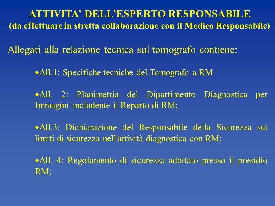 ATTIVITA DELLESPERTO RESPONSABILE (da effettuare in stretta collaborazione con il Medico Responsabile) Allegati alla relazione tecnica sul tomografo c