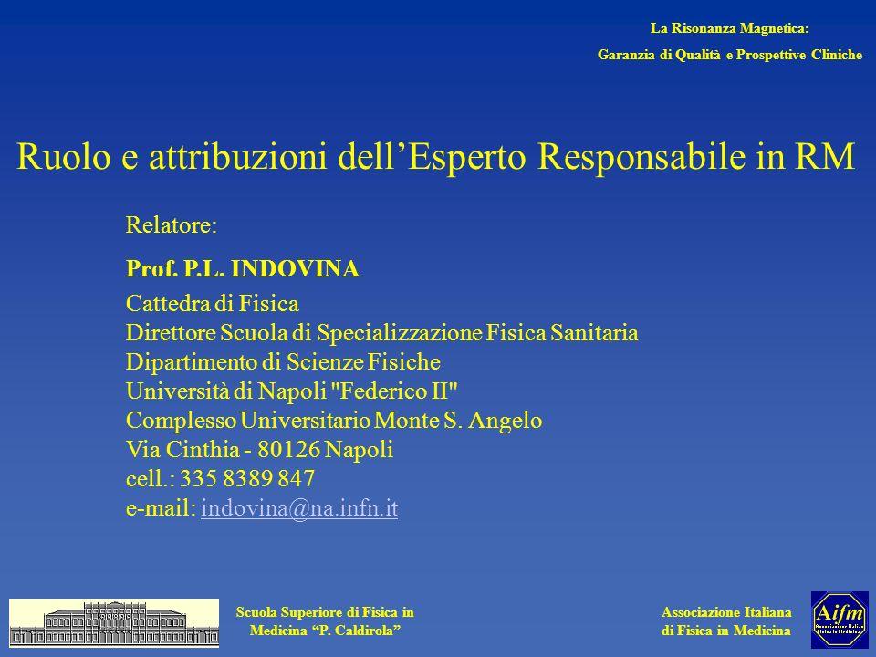 Associazione Italiana di Fisica in Medicina Scuola Superiore di Fisica in Medicina P. Caldirola Ruolo e attribuzioni dellEsperto Responsabile in RM Re