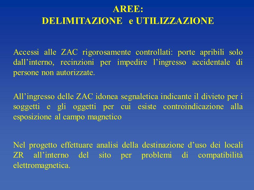 AREE: DELIMITAZIONE e UTILIZZAZIONE Accessi alle ZAC rigorosamente controllati: porte apribili solo dallinterno, recinzioni per impedire lingresso acc