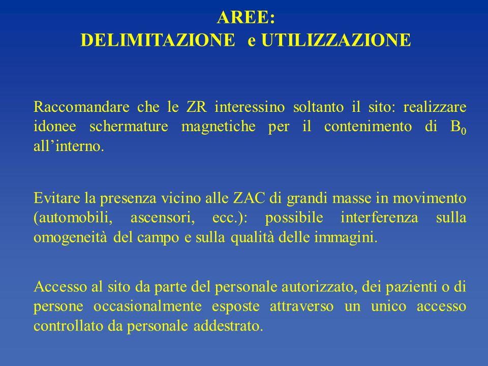 AREE: DELIMITAZIONE e UTILIZZAZIONE Raccomandare che le ZR interessino soltanto il sito: realizzare idonee schermature magnetiche per il contenimento